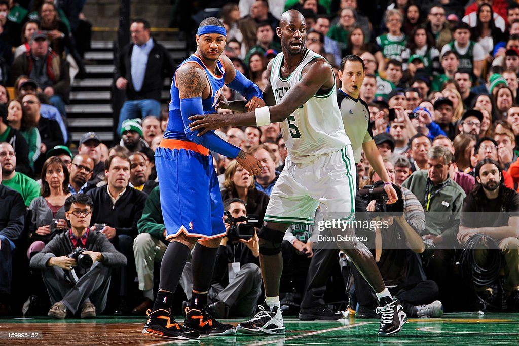 Kevin Garnett #5 of the Boston Celtics plays defense against Carmelo Anthony #7 of the New York Knicks on January 24, 2013 at the TD Garden in Boston, Massachusetts.