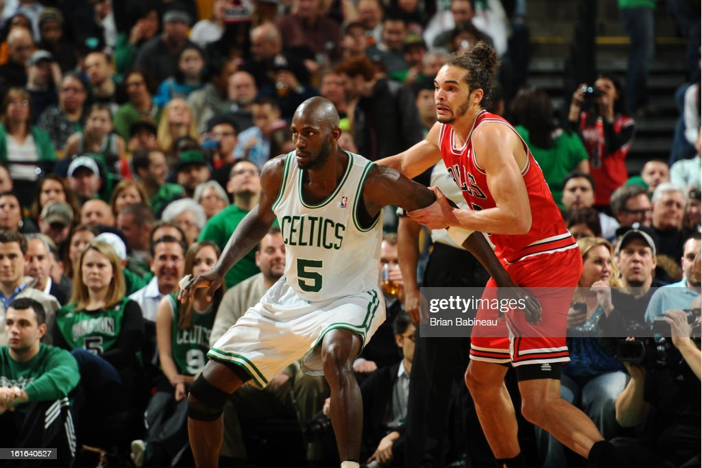 Kevin Garnett #5 of the Boston Celtics posts up against Joakim Noah #13 of the Chicago Bulls on February 13, 2013 at the TD Garden in Boston, Massachusetts.
