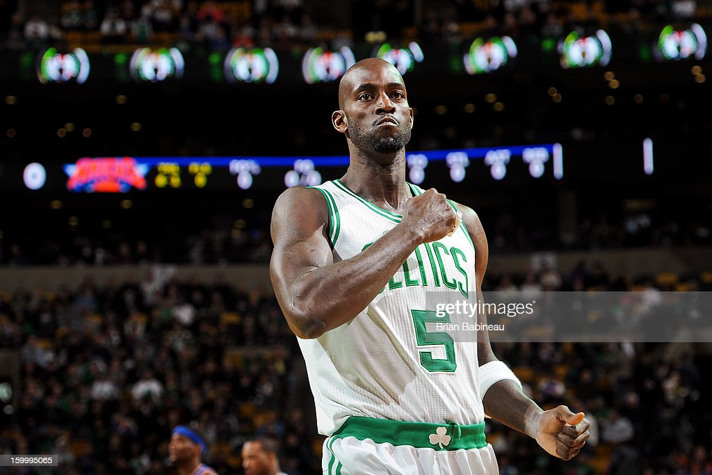 Kevin Garnett #5 of the Boston Celtics pounds his chest before a game against the New York Knicks on January 24, 2013 at the TD Garden in Boston, Massachusetts.