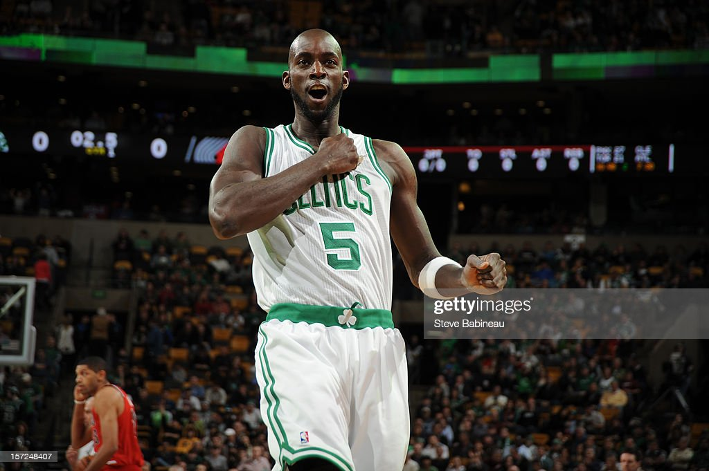 Kevin Garnett #5 of the Boston Celtics pounds his chest during the game against the Portland Trail Blazers on November 30, 2012 at the TD Garden in Boston, Massachusetts.