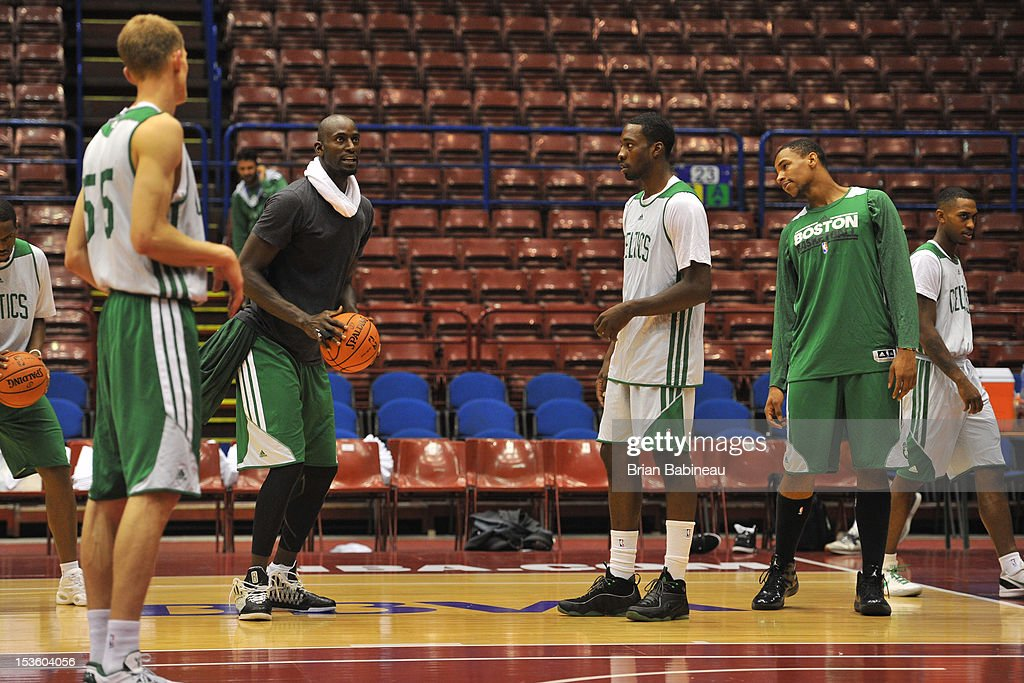 Kevin Garnett of the Boston Celtics practices during the morning shoot around on October 7, 2012 at Mediolanum Forum in Milan, Italy.