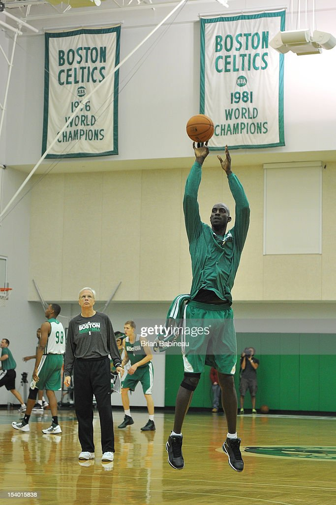 Kevin Garnett of the Boston Celtics practices on October 12, 2012 at the Training Center at Healthpoint in Waltham, Massachusetts.