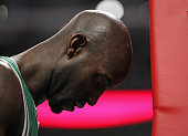 Kevin Garnett of the Boston Celtics prepares to play against the Chicago Bulls at the United Center on February 16 2012 in Chicago Illinois The Bulls...