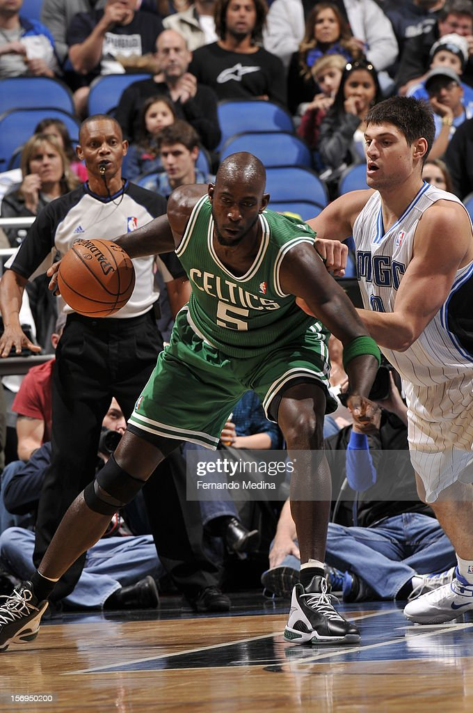 Kevin Garnett #5 of the Boston Celtics protects the ball during the game between the Boston Celtics and the Orlando Magic on November 25, 2012 at Amway Center in Orlando, Florida.