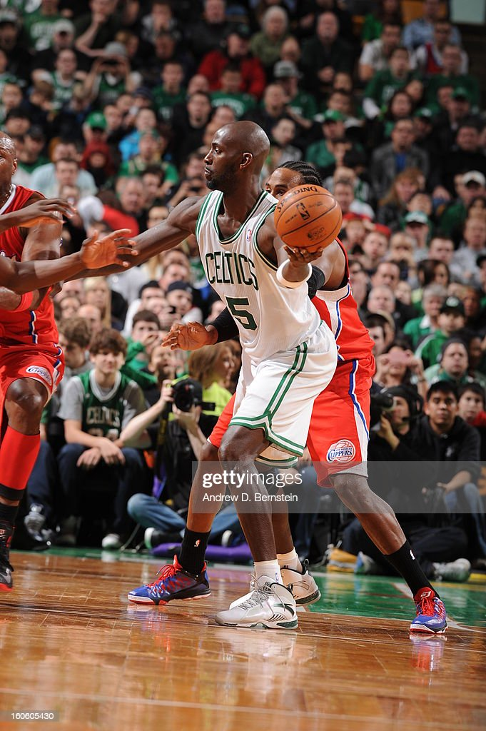 Kevin Garnett #5 of the Boston Celtics protects the ball during the game between the Boston Celtics and the Los Angeles Clippers on February 3, 2013 at the TD Garden in Boston, Massachusetts.