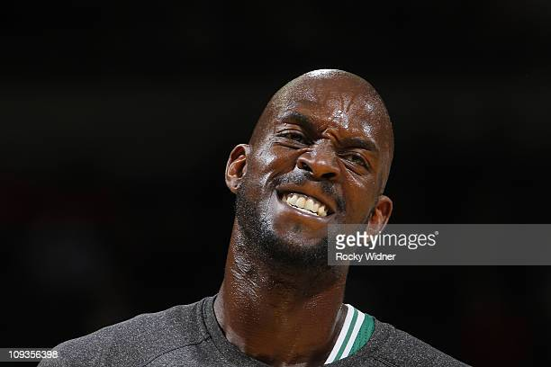 Kevin Garnett of the Boston Celtics pumps himself up before a game against the Golden State Warriors on February 22 2011 at Oracle Arena in Oakland...