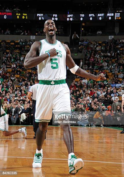 Kevin Garnett of the Boston Celtics pumps up the crowd before a game against the Toronto Raptors on January 12 2009 at the TD Banknorth Garden in...