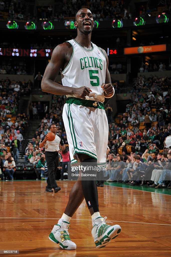 Kevin Garnett of the Boston Celtics pumps up the crowd before the game against the Houston Rockets on April 2 2010 at the TD Garden in Boston...