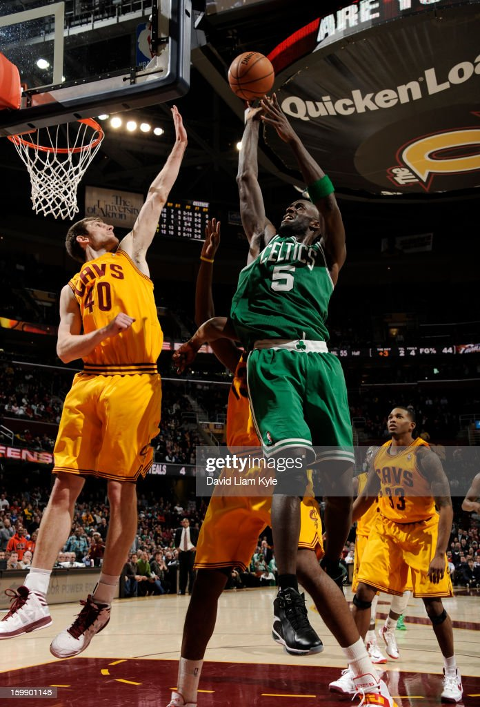Kevin Garnett #5 of the Boston Celtics puts up the shot against Tyler Zeller #40 of the Cleveland Cavaliers at The Quicken Loans Arena on January 22, 2013 in Cleveland, Ohio.