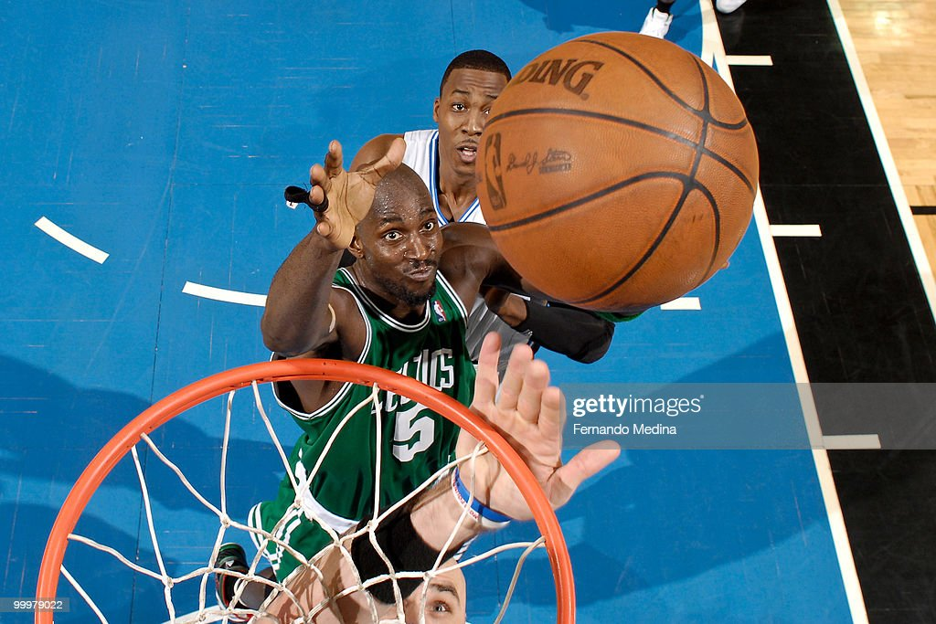 Kevin Garnett #5 of the Boston Celtics reaches for a rebound against the Orlando Magic in Game Two of the Eastern Conference Finals during the 2010 NBA Playoffs on May 18, 2010 at Amway Arena in Orlando, Florida.