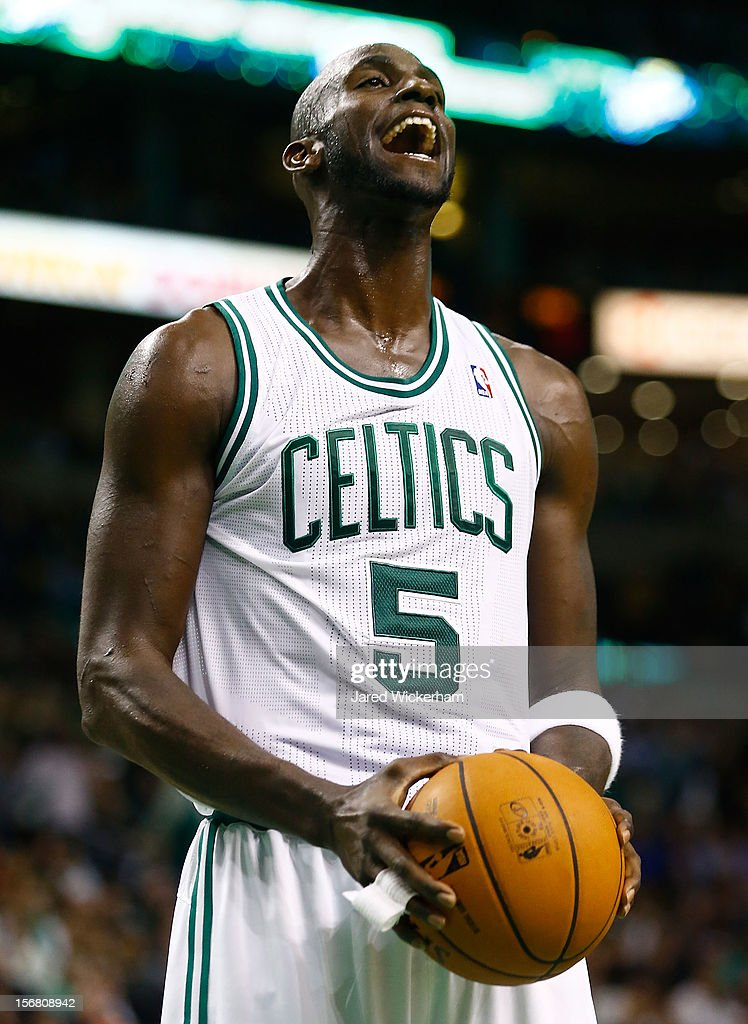 Kevin Garnett #5 of the Boston Celtics reacts after a foul call against the San Antonio Spurs during the game on November 21, 2012 at TD Garden in Boston, Massachusetts.