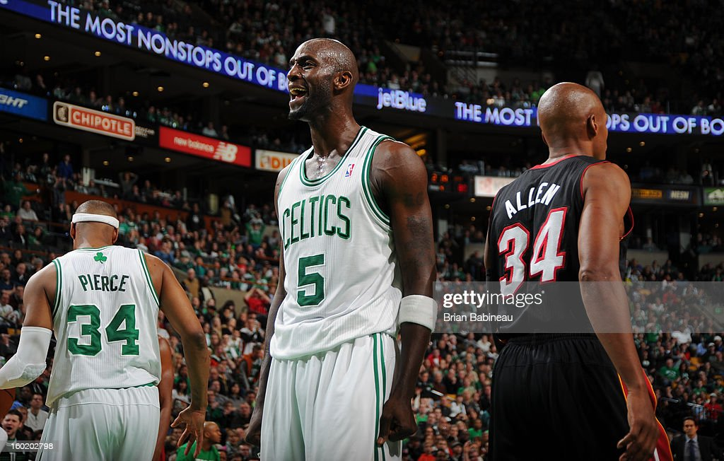 Kevin Garnett #5 of the Boston Celtics reacts after a play against the Miami Heat on January 27, 2013 at the TD Garden in Boston, Massachusetts.