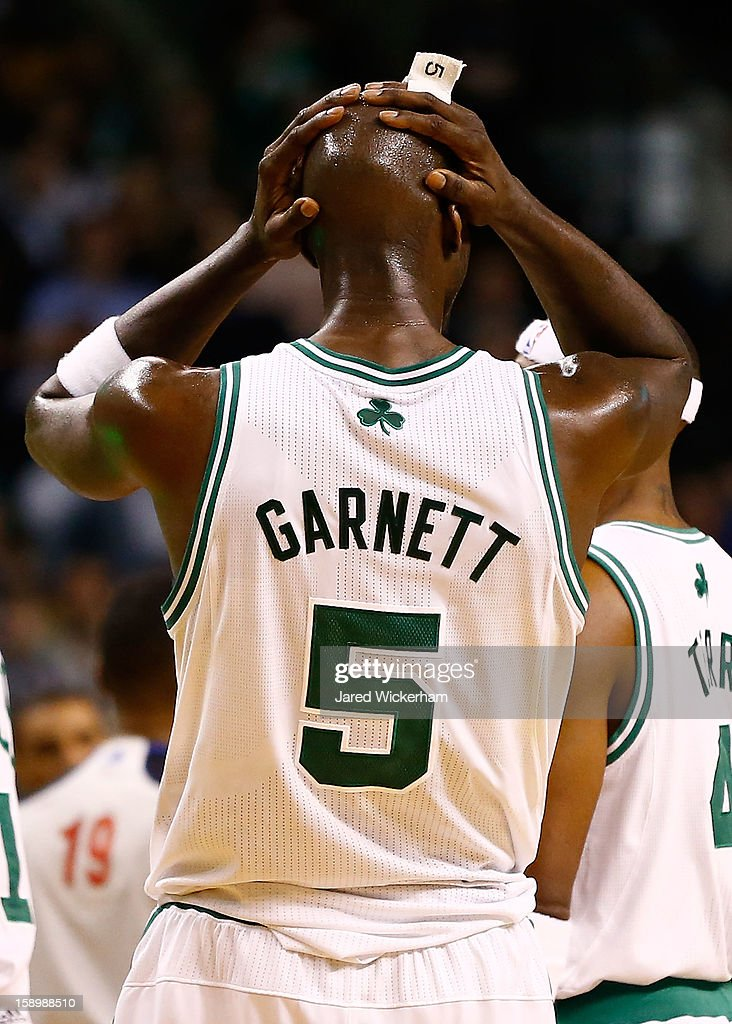 Kevin Garnett #5 of the Boston Celtics reacts after being ejected and called for a flagrant 2 foul against the Indiana Pacers during the game on January 4, 2013 at TD Garden in Boston, Massachusetts.