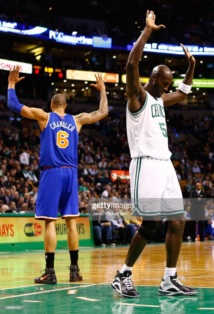 <a gi-track='captionPersonalityLinkClicked' href=/galleries/search?phrase=Kevin+Garnett&family=editorial&specificpeople=201473 ng-click='$event.stopPropagation()'>Kevin Garnett</a> #5 of the Boston Celtics reacts after being fouled by <a gi-track='captionPersonalityLinkClicked' href=/galleries/search?phrase=Tyson+Chandler&family=editorial&specificpeople=202061 ng-click='$event.stopPropagation()'>Tyson Chandler</a> #6 of the New York Knicks during the game on January 24, 2013 at TD Garden in Boston, Massachusetts.