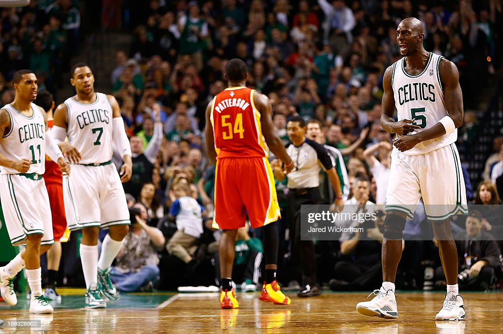 Kevin Garnett #5 of the Boston Celtics reacts after making a shot and getting fouled against the Houston Rockets during the game on January 11, 2013 at TD Garden in Boston, Massachusetts.