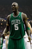 Kevin Garnett of the Boston Celtics reacts against the Orlando Magic in Game Two of the Eastern Conference Finals during the 2010 NBA Playoffs at...