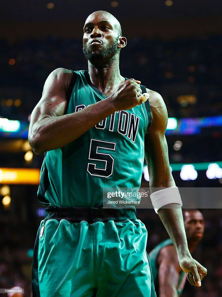 Kevin Garnett #5 of the Boston Celtics reacts before the game against the Oklahoma City Thunder on November 23, 2012 at TD Garden in Boston, Massachusetts.