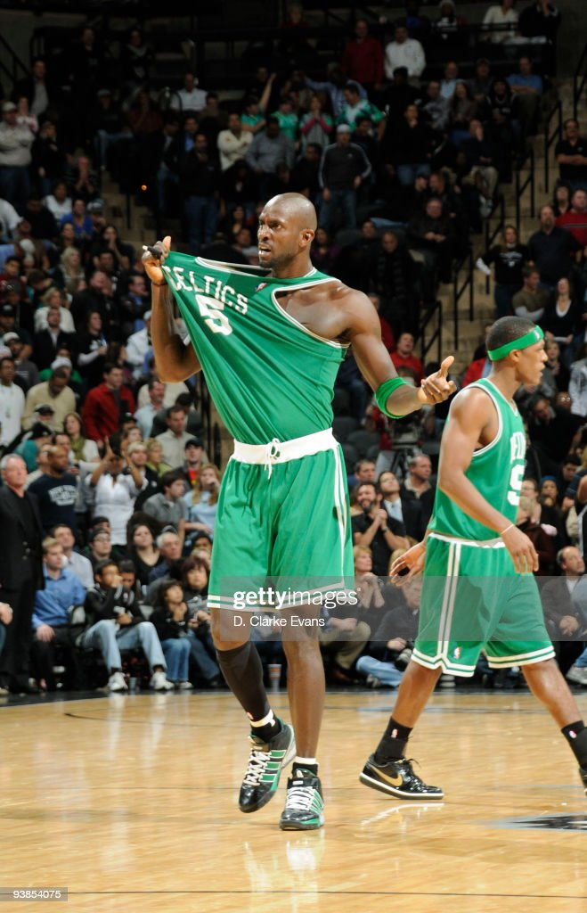 <a gi-track='captionPersonalityLinkClicked' href=/galleries/search?phrase=Kevin+Garnett&family=editorial&specificpeople=201473 ng-click='$event.stopPropagation()'>Kevin Garnett</a> #5 of the Boston Celtics reacts during the game against the San Antonio Spurs on December 3, 2009 at the AT&T Center in San Antonio, Texas.