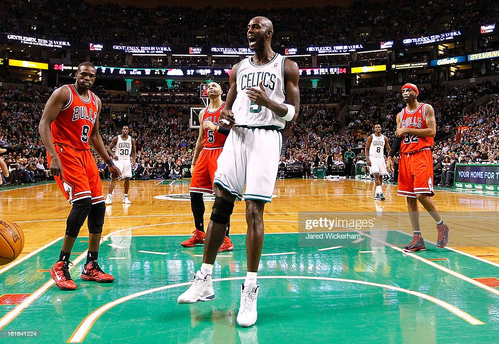 Kevin Garnett #5 of the Boston Celtics reacts following a basket against the Chicago Bulls during the game on February 13, 2013 at TD Garden in Boston, Massachusetts.