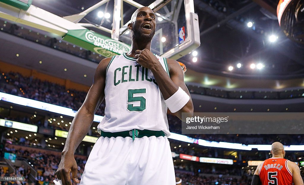 Kevin Garnett #5 of the Boston Celtics reacts following a foul against the Chicago Bulls during the game on February 13, 2013 at TD Garden in Boston, Massachusetts.