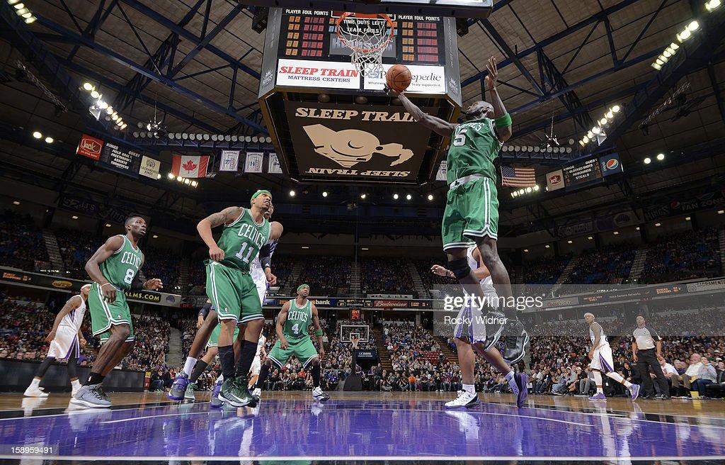 Kevin Garnett #5 of the Boston Celtics rebound against the Sacramento Kings on December 30, 2012 at Sleep Train Arena in Sacramento, California.