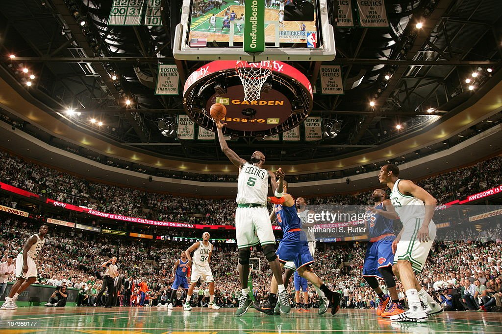 Kevin Garnett #5 of the Boston Celtics rebounds against Tyson Chandler #6 of the New York Knicks in Game Six of the Eastern Conference Quarterfinals during the 2013 NBA Playoffs on May 3, 2013 at the TD Garden in Boston.