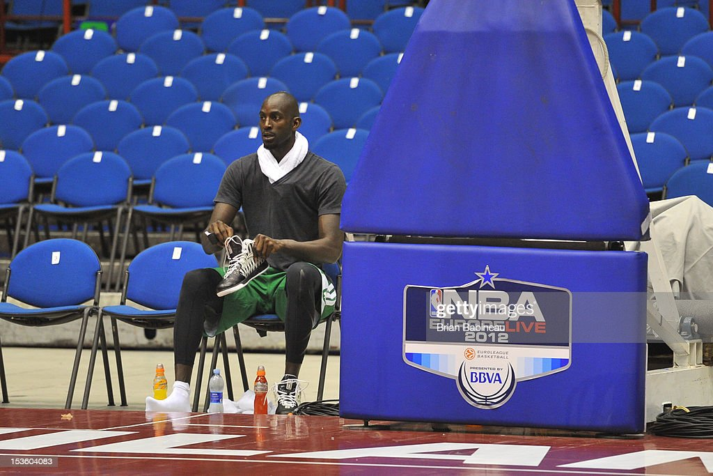 Kevin Garnett of the Boston Celtics relaxes during the morning shoot around on October 7, 2012 at Mediolanum Forum in Milan, Italy.