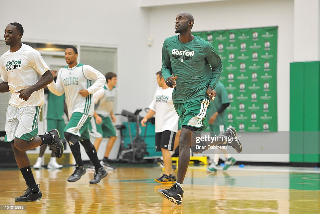 Kevin Garnett of the Boston Celtics runs before practice on October 12, 2012 at the Training Center at Healthpoint in Waltham, Massachusetts.