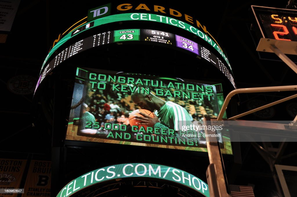 Kevin Garnett #5 of the Boston Celtics scores 25,000 career points against the Los Angeles Lakers on February 7, 2013 at the TD Garden in Boston, Massachusetts.