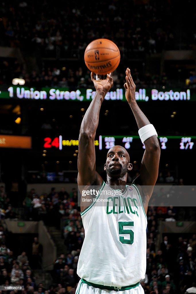 Kevin Garnett #5 of the Boston Celtics shoots a free-throw against the New York Knicks on January 24, 2013 at the TD Garden in Boston, Massachusetts.