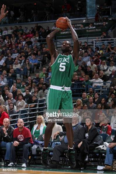 Kevin Garnett of the Boston Celtics shoots a jumpshot against the Milwaukee Bucks on November 15 2008 at the Bradley Center in Milwaukee Wisconsin...