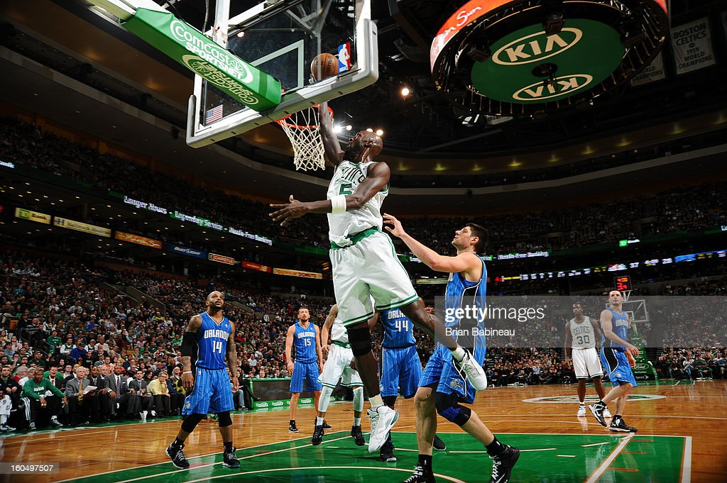 Kevin Garnett #5 of the Boston Celtics shoots a layup against the Orlando Magic on February 1, 2013 at the TD Garden in Boston, Massachusetts.