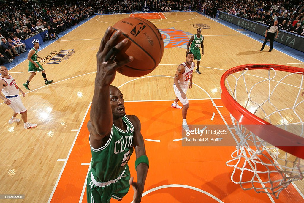 Kevin Garnett #5 of the Boston Celtics shoots a layup against the New York Knicks on January 7, 2013 at Madison Square Garden in New York City.