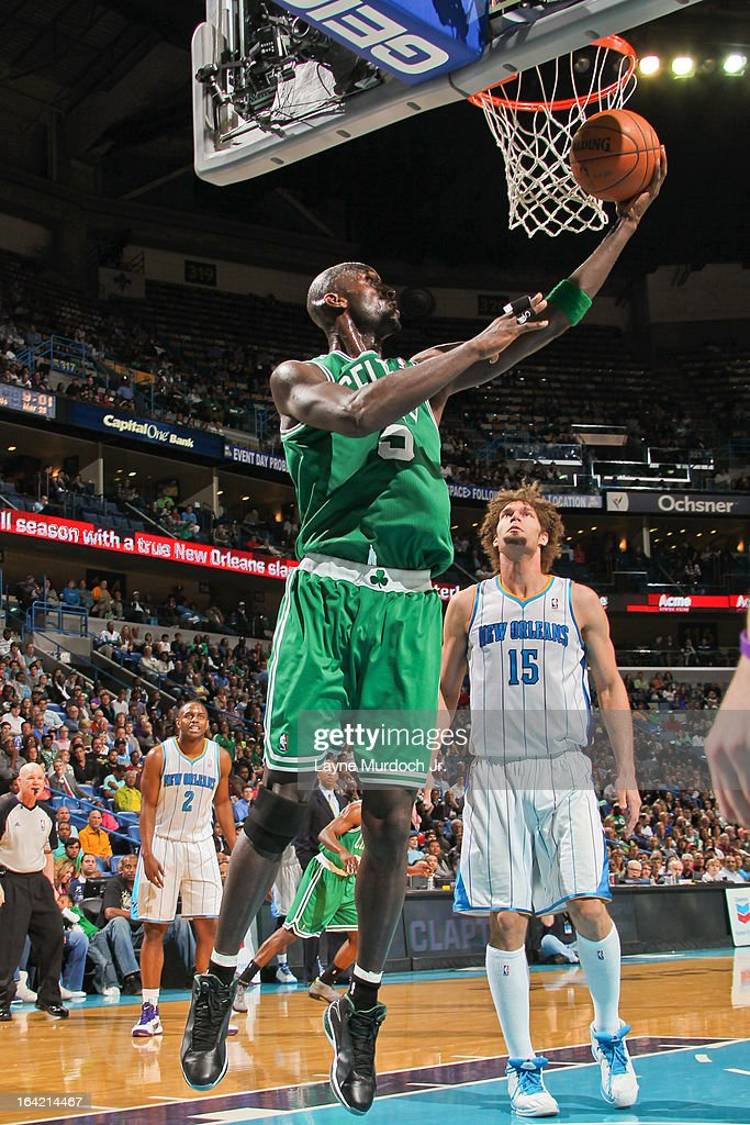 Kevin Garnett #5 of the Boston Celtics shoots a reverse layup against the New Orleans Hornets on March 20, 2013 at the New Orleans Arena in New Orleans, Louisiana.
