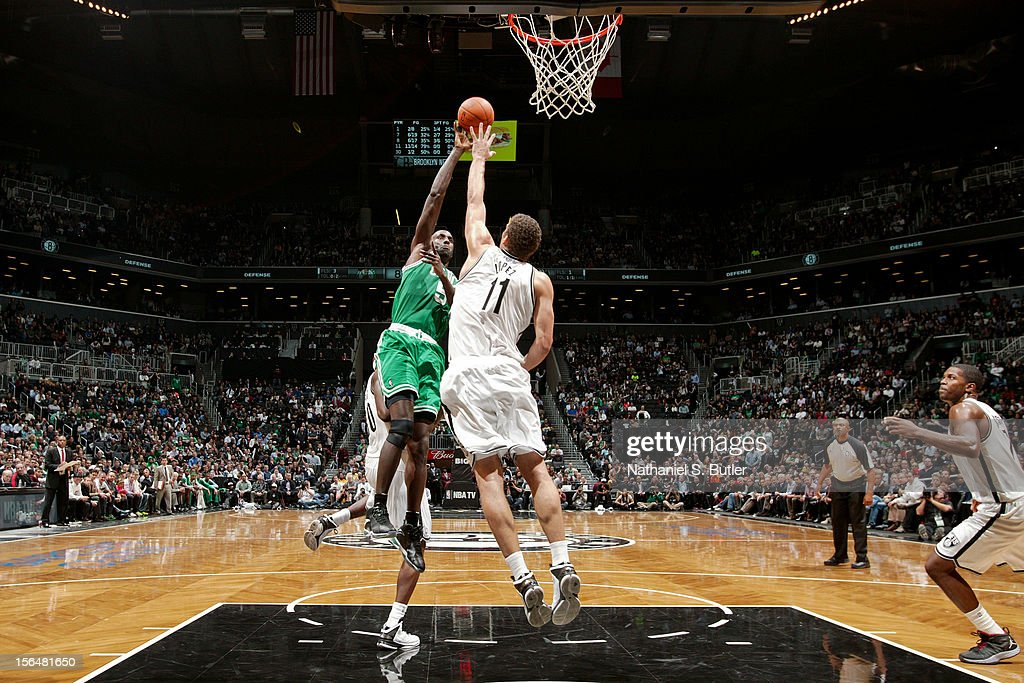 Kevin Garnett #5 of the Boston Celtics shoots against Brook Lopez #11 of the Brooklyn Nets on November 15, 2012 at the Barclays Center in the Brooklyn Borough of New York City.