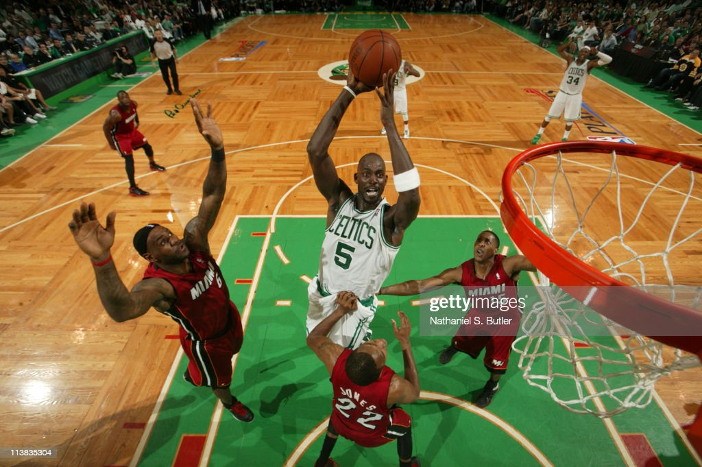 Kevin Garnett of the Boston Celtics shoots against James Jones of the Miami Heat during Game Three of the Eastern Conference Semifinals in the 2011...