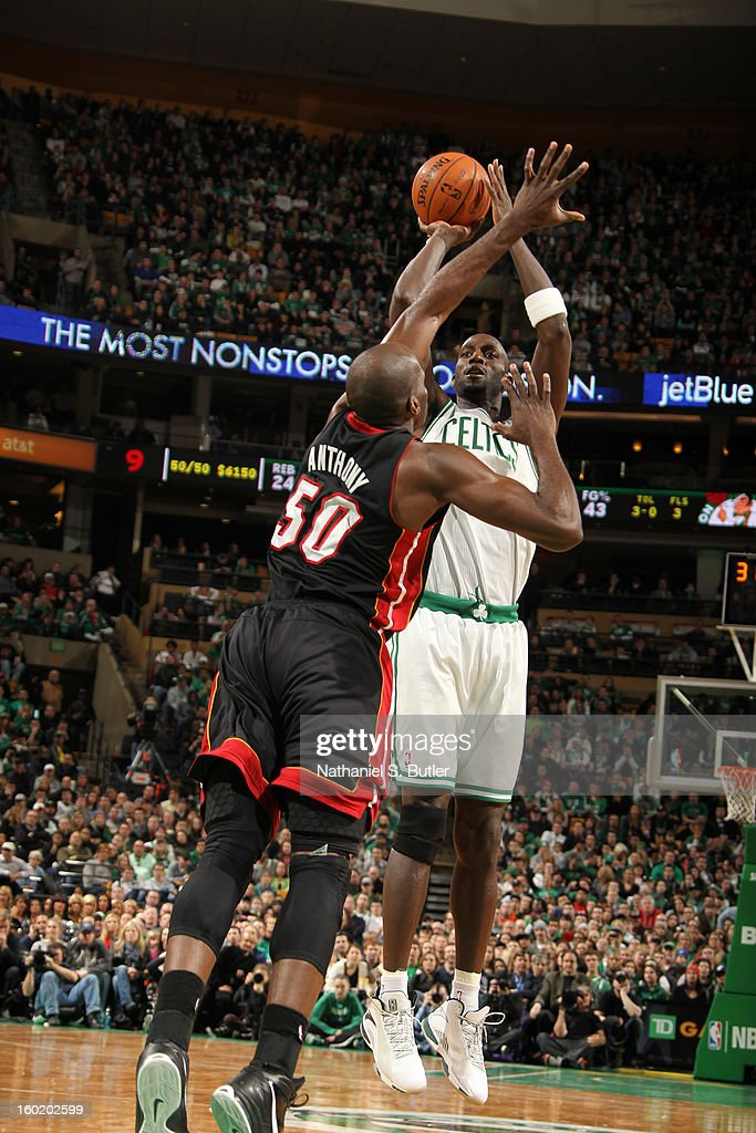 Kevin Garnett #5 of the Boston Celtics shoots against Joel Anthony #50 of the Miami Heat on January 27, 2013 at TD Garden in Boston, Massachusetts.