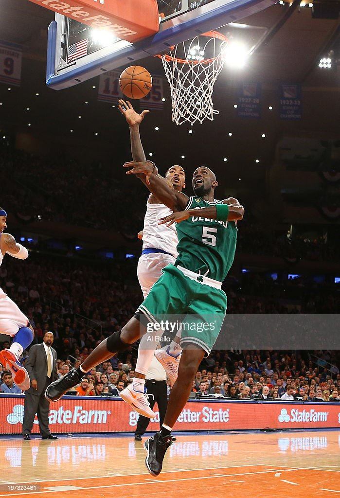 Kevin Garnett #5 of the Boston Celtics shoots against J.R. Smith #8 of the New York Knicks during Game two of the Eastern Conference Quarterfinals of the 2013 NBA Playoffs at Madison Square Garden on April 23, 2013 in New York City.