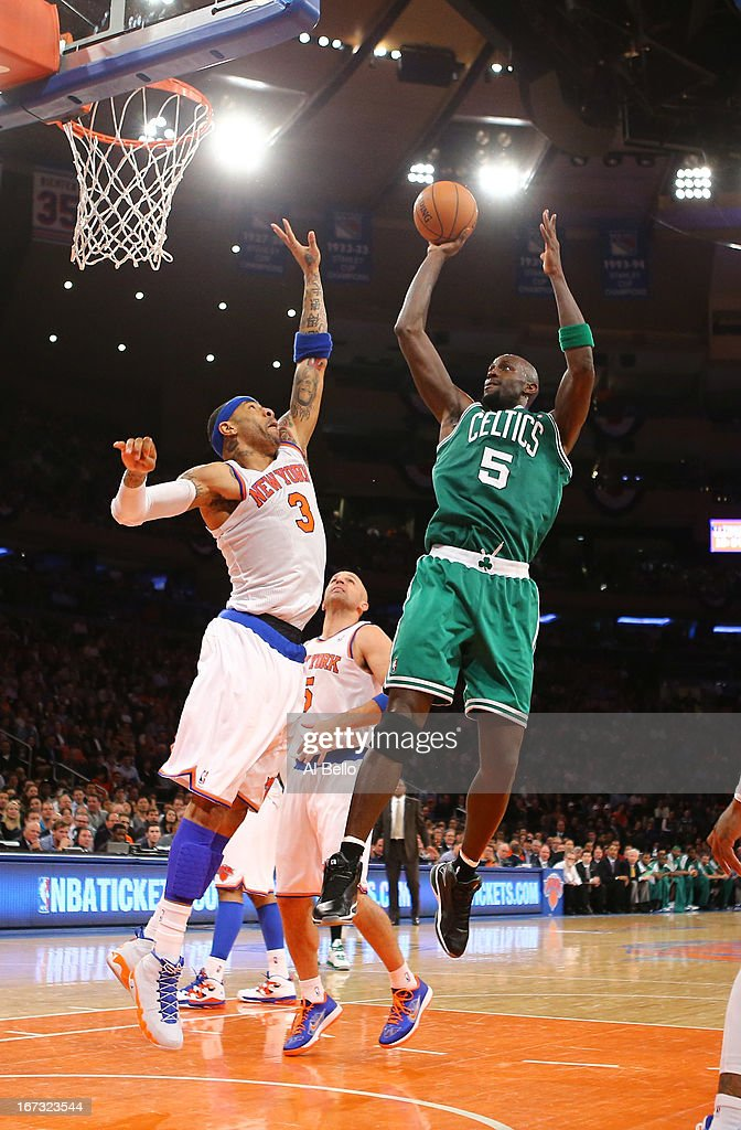Kevin Garnett #5 of the Boston Celtics shoots against Kenyon Martin #3 of the New York Knicks during Game two of the Eastern Conference Quarterfinals of the 2013 NBA Playoffs at Madison Square Garden on April 23, 2013 in New York City.