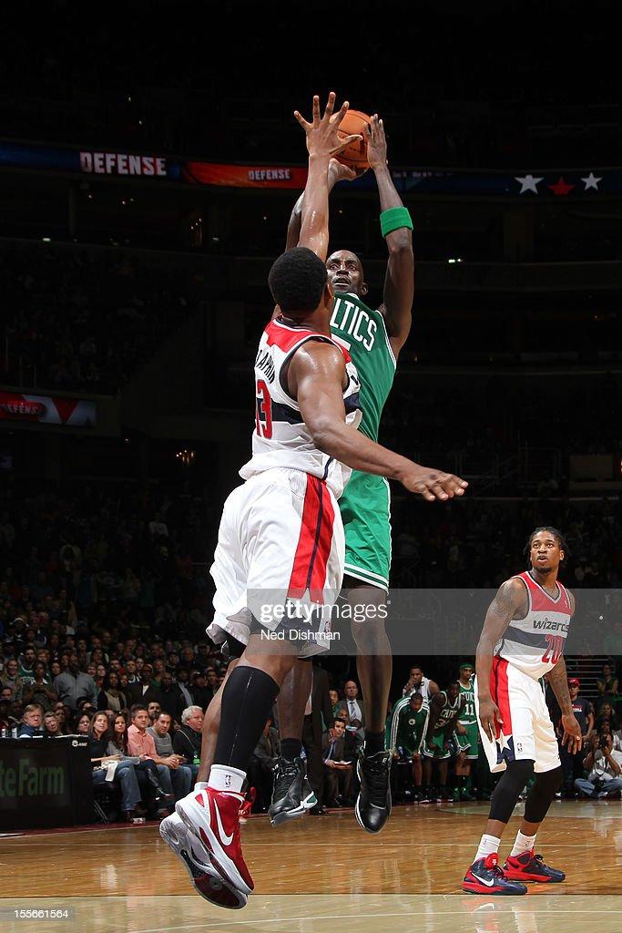 Kevin Garnett #5 of the Boston Celtics shoots against Kevin Seraphin #13 of the Washington Wizards at the Verizon Center on November 3, 2012 in Washington, DC.