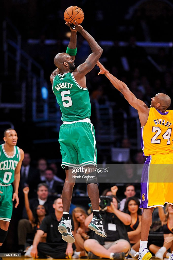 Kevin Garnett #5 of the Boston Celtics shoots against Kobe Bryant #24 of the Los Angeles Lakers at Staples Center on February 20, 2013 in Los Angeles, California.