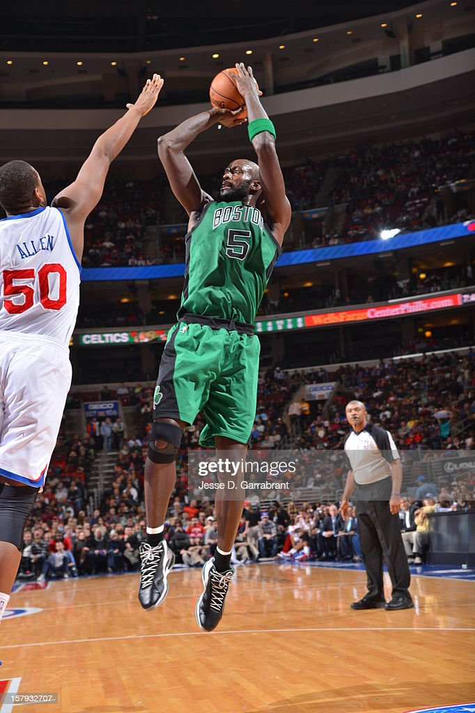Kevin Garnett #5 of the Boston Celtics shoots against Lavoy Allen #50 of the Philadelphia 76ers at the Wells Fargo Center on December 7, 2012 in Philadelphia, Pennsylvania.
