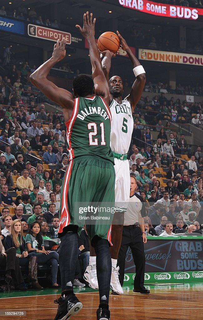 Kevin Garnett #5 of the Boston Celtics shoots against Samuel Dalembert #21 of the Milwaukee Bucks on November 2, 2012 at the TD Garden in Boston, Massachusetts.