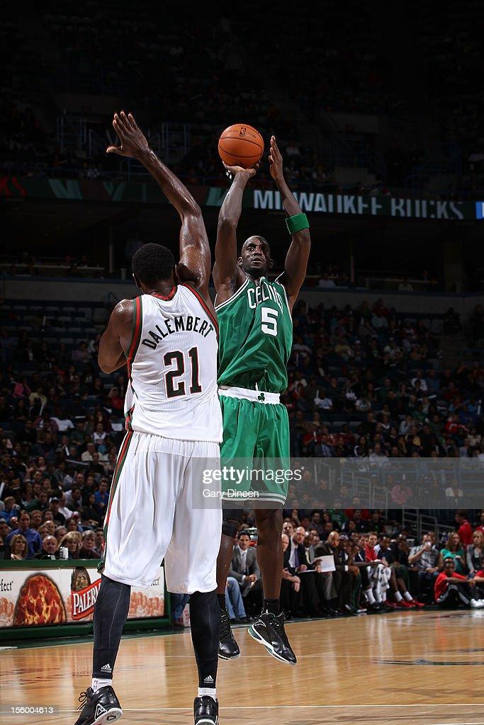Kevin Garnett #5 of the Boston Celtics shoots against Samuel Dalembert #21 of the Milwaukee Bucks during the NBA game on November 10, 2012 at the BMO Harris Bradley Center in Milwaukee, Wisconsin.
