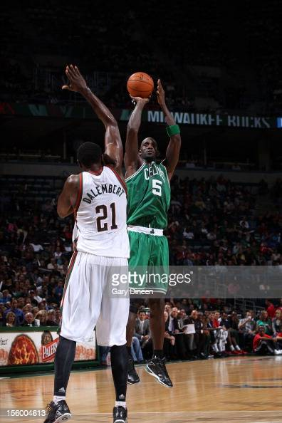 Kevin Garnett of the Boston Celtics shoots against Samuel Dalembert of the Milwaukee Bucks during the NBA game on November 10 2012 at the BMO Harris...