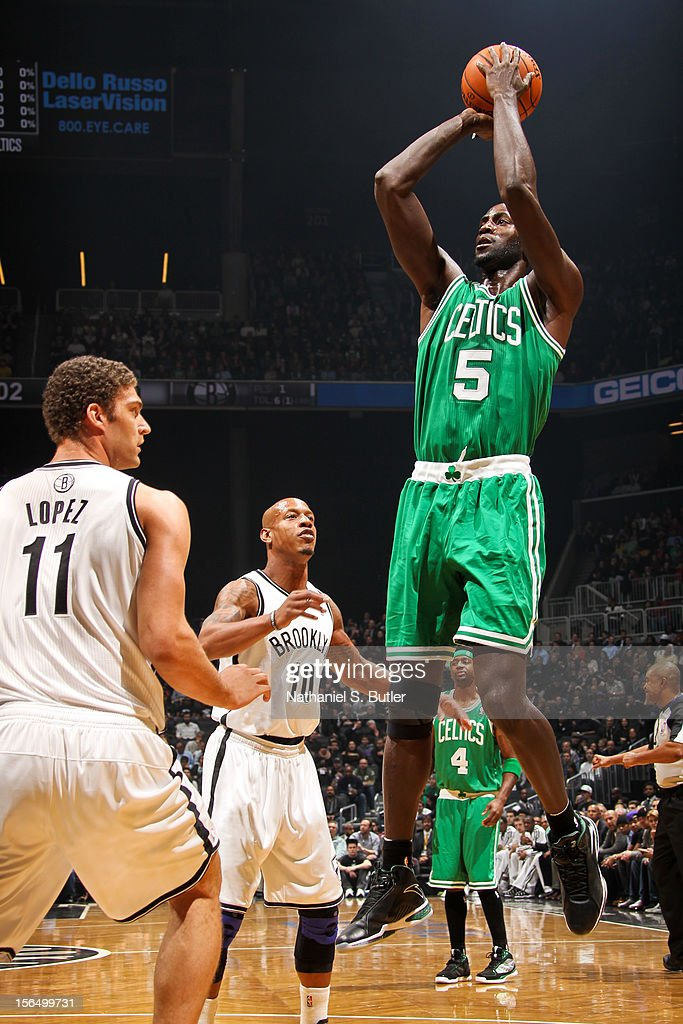 Kevin Garnett #5 of the Boston Celtics shoots against the Brooklyn Nets on November 15, 2012 at the Barclays Center in the Brooklyn borough of New York City.