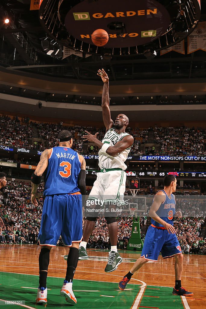 <a gi-track='captionPersonalityLinkClicked' href=/galleries/search?phrase=Kevin+Garnett&family=editorial&specificpeople=201473 ng-click='$event.stopPropagation()'>Kevin Garnett</a> #5 of the Boston Celtics shoots against the New York Knicks in Game Four of the Eastern Conference Quarterfinals during the 2013 NBA Playoffs on April 28, 2013 at the TD Garden in Boston.