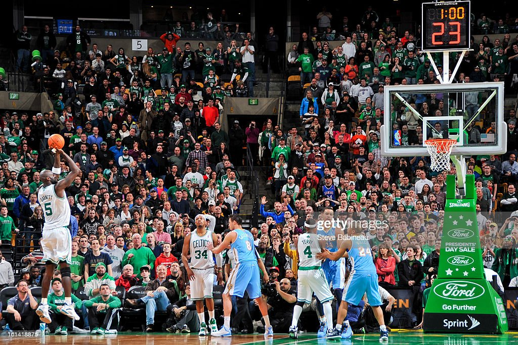 <a gi-track='captionPersonalityLinkClicked' href=/galleries/search?phrase=Kevin+Garnett&family=editorial&specificpeople=201473 ng-click='$event.stopPropagation()'>Kevin Garnett</a> #5 of the Boston Celtics shoots in overtime against the Denver Nuggets on February 10, 2013 at the TD Garden in Boston, Massachusetts.