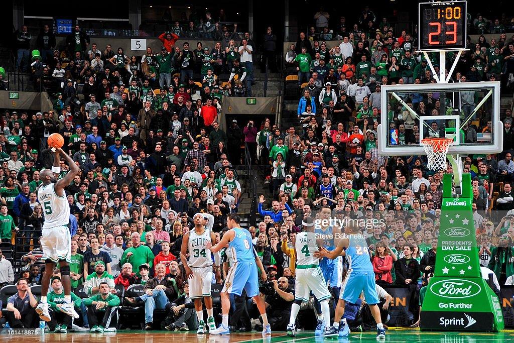 Kevin Garnett #5 of the Boston Celtics shoots in overtime against the Denver Nuggets on February 10, 2013 at the TD Garden in Boston, Massachusetts.