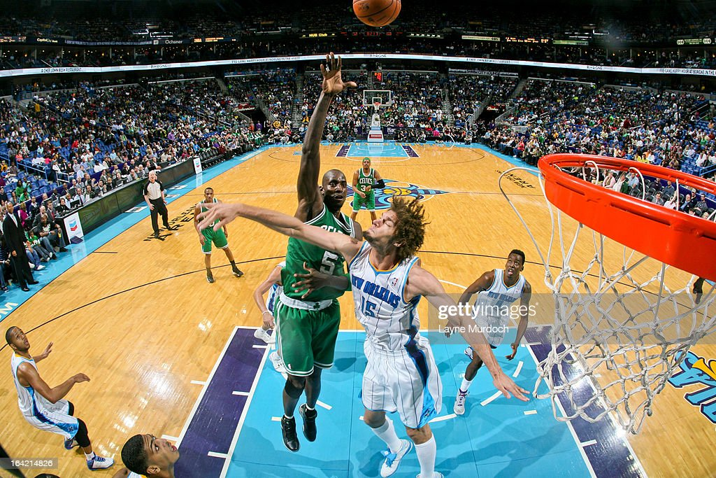 Kevin Garnett #5 of the Boston Celtics shoots in the lane against Robin Lopez #15 of the New Orleans Hornets on March 20, 2013 at the New Orleans Arena in New Orleans, Louisiana.